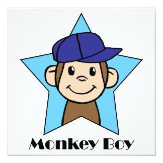 Cartoon Clip Art Cute Monkey Boy Birthday Party 13 Cm X 13 Cm Square Invitation Card