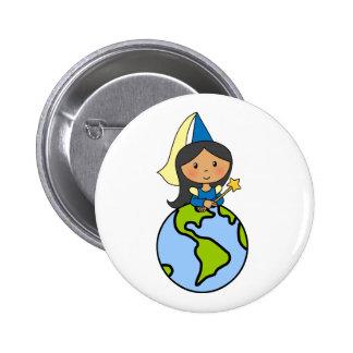 Cartoon Clip Art Cute Princess on Top of the World Pinback Buttons