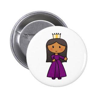 Cartoon Clip Art Cute Princess with Tiara Pinback Buttons