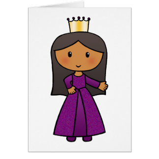 Cartoon Clip Art Cute Princess with Tiara Card