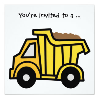 Cartoon Clip Art Dump Truck Boy Birthday Party 13 Cm X 13 Cm Square Invitation Card