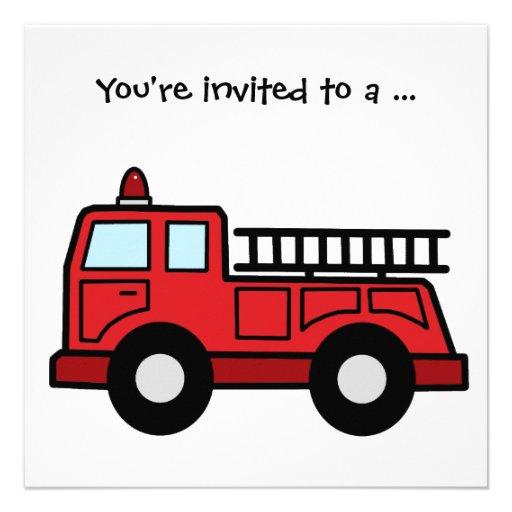 Cartoon Clip Art Firetruck Boy Birthday Party Personalized Invitation