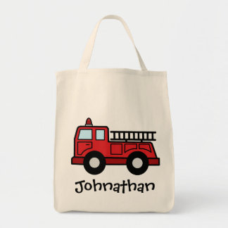 Cartoon Clip Art Firetruck Emergency Vehicle Truck Grocery Tote Bag