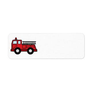 Cartoon Clip Art Firetruck Emergency Vehicle Truck Return Address Label