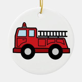 Cartoon Clip Art Firetruck Emergency Vehicle Truck Round Ceramic Decoration