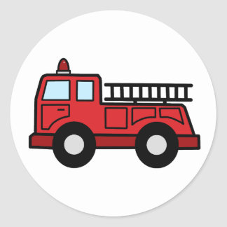 Cartoon Clip Art Firetruck Emergency Vehicle Truck Round Sticker