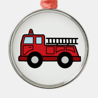 Cartoon Clip Art Firetruck Emergency Vehicle Truck Silver-Colored Round Decoration