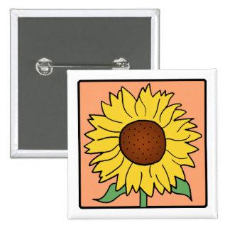 Cartoon Clip Art Garden Summer Sunflower Flower Pinback Button