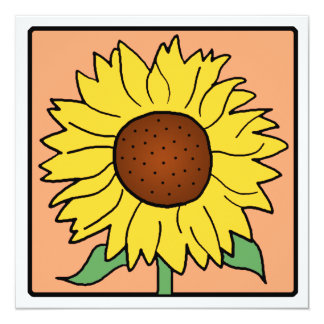 Cartoon Clip Art Garden Sunflower Bridal Shower 13 Cm X 13 Cm Square Invitation Card