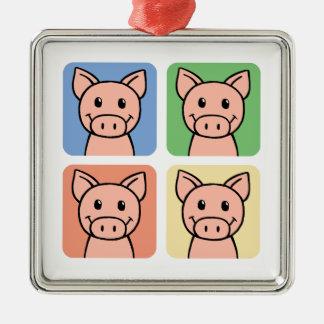 Cartoon Clip Art Laughing Piggie Piggy Pigs! Christmas Tree Ornaments