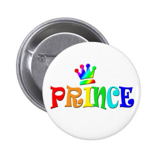 Cartoon Clip Art Rainbow Text Prince and Crown Buttons