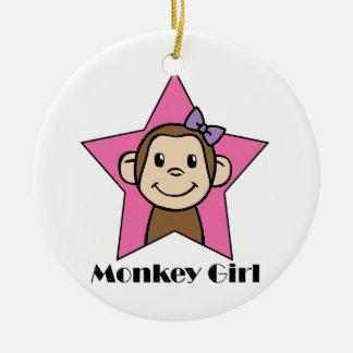 Cartoon Clip Art Smile Monkey Girl Pink Star Bow Christmas Tree Ornaments
