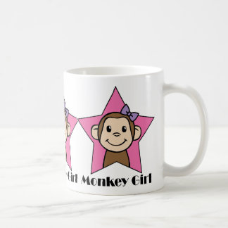 Cartoon Clip Art Smile Monkey Girl Pink Star Bow Coffee Mugs