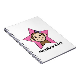 Cartoon Clip Art Smile Monkey Girl Pink Star Bow Spiral Notebook
