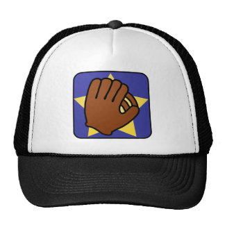 Cartoon Clip Art Sports Baseball Glove Gold Star Trucker Hats