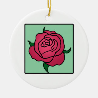 Cartoon Clip Art Valentine's Day Red Rose Flower Christmas Tree Ornaments