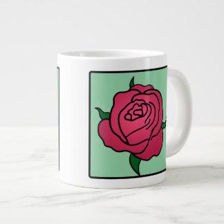 Cartoon Clip Art Valentine's Day Red Rose Flower Jumbo Mug