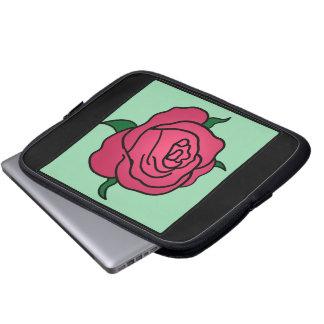 Cartoon Clip Art Valentine's Day Red Rose Flower Laptop Computer Sleeves