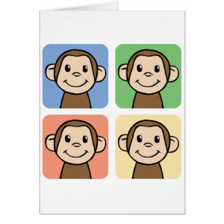 Cartoon Clip Art with 4 Happy Monkeys Card