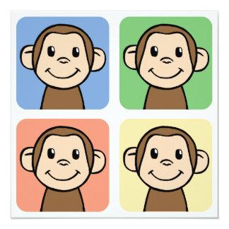 Cartoon Clip Art with 4 Happy Monkeys Invite