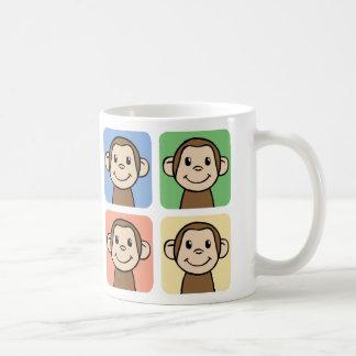 Cartoon Clip Art with 4 Happy Monkeys Mugs