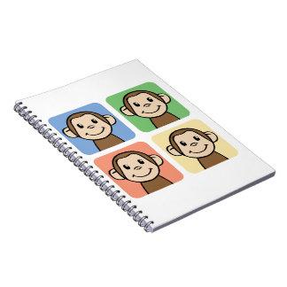 Cartoon Clip Art with 4 Happy Monkeys Spiral Notebooks