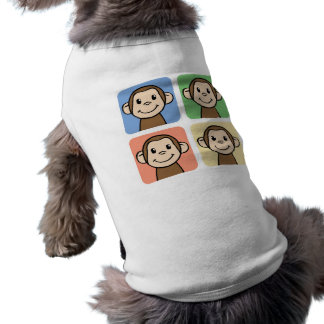 Cartoon Clip Art with 4 Happy Monkeys Pet Tshirt