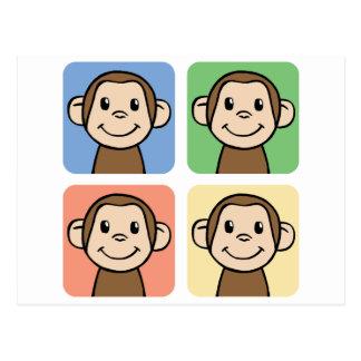 Cartoon Clip Art with 4 Happy Monkeys Postcard