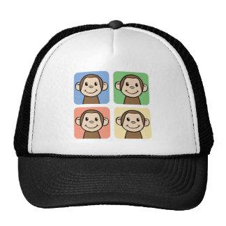 Cartoon Clip Art with 4 Happy Monkeys Trucker Hats