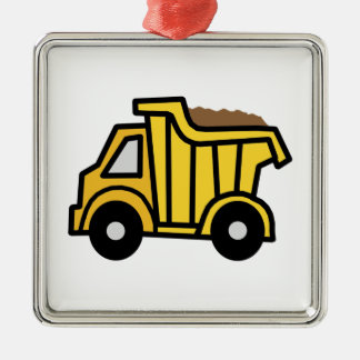 Cartoon Clip Art with a Construction Dump Truck Christmas Tree Ornament
