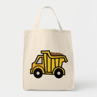 Cartoon Clip Art with a Construction Dump Truck Grocery Tote Bag