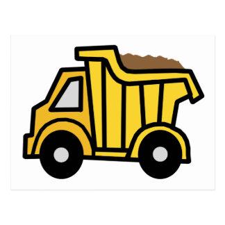 Cartoon Clip Art with a Construction Dump Truck Postcard