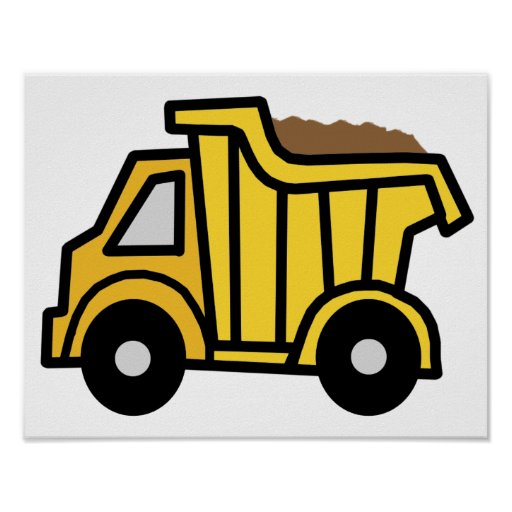 Cartoon Clip Art with a Construction Dump Truck Posters