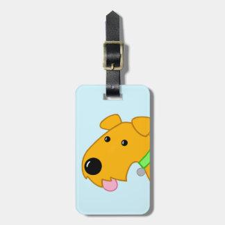 Cartoon Closeup Airedale Terrier Dog Luggage Tag