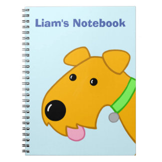Cartoon Closeup of Airedale Terrier Dog Notebook