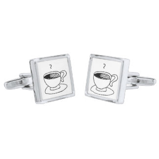 Cartoon Coffee Cup Demitasse Cute Cartoon Silver Finish Cufflinks