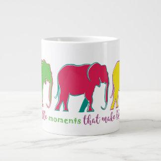 Cartoon Colorful Bright Happy Elephants Big Life Large Coffee Mug