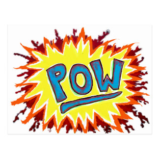 Cartoon Comics Sound Effect POW Post Card
