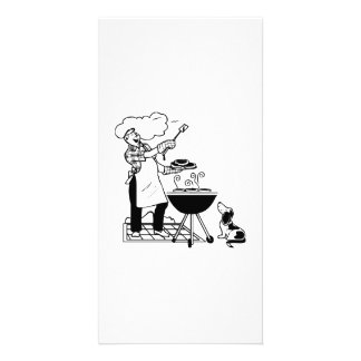 Cartoon Cookout with Dog Photo Card