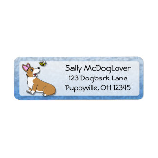 Cartoon Corgi Bee Return Address Label