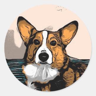 Cartoon Corgi Classic Round Sticker