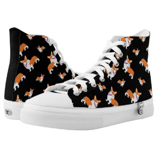 Cartoon Corgi Pattern High Tops