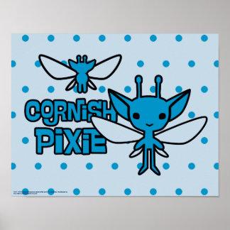 Cartoon Cornish Pixie Character Art Poster