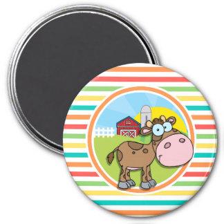 Cartoon Cow; Bright Rainbow Stripes Fridge Magnet
