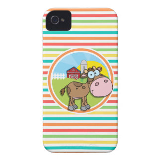 Cartoon Cow; Bright Rainbow Stripes iPhone 4 Cover