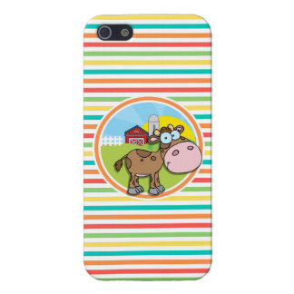 Cartoon Cow; Bright Rainbow Stripes Case For iPhone 5