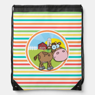 Cartoon Cow Bright Rainbow Stripes Drawstring Backpacks