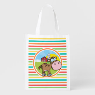 Cartoon Cow Bright Rainbow Stripes Reusable Grocery Bag