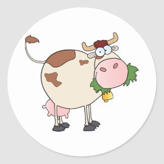 Cartoon Cow Character Round Stickers