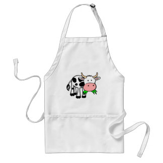 Cartoon Cow Chewing Grass Aprons